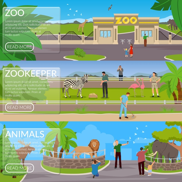Zoo flat horizontal banner set Free Vector