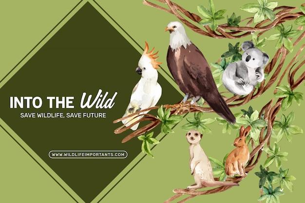 イーグル、ウサギ、ミーアキャット水彩イラストと動物園フレームデザイン。 無料ベクター