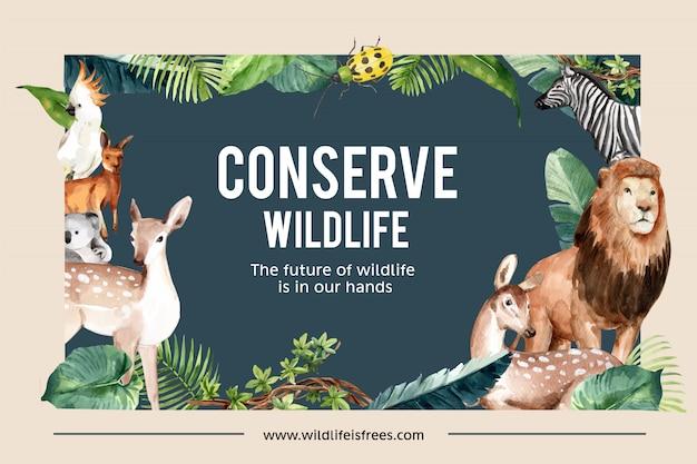 Дизайн рамы зоопарка с лев, олень, кенгуру, коала акварельные иллюстрации. Бесплатные векторы