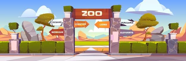 野生動物へのポインターが付いている動物園の門は、サル、シマウマ、キリン、ライオン、ペンギン、象をケージに入れます。緑の茂みのフェンスと石の柱がある屋外公園の入り口。漫画イラスト 無料ベクター