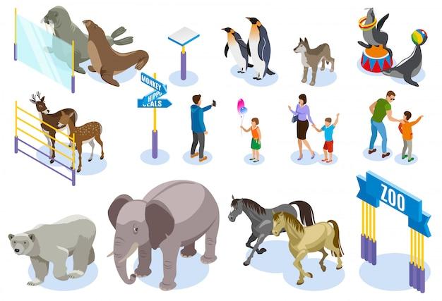 Set di icone isometriche zoo Vettore gratuito