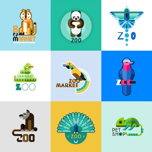 Zoo logo set Free Vector