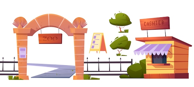 Zoo outdoor wild animals park set. gates with wooden signboard, metal fencing and stone pillars, cashier booth, entrance banner and green bush isolated on white background cartoon illustration Free Vector