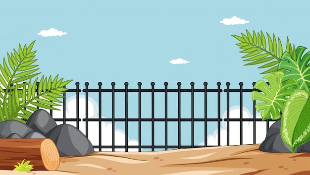 Parco zoologico senza scena di animali Vettore gratuito