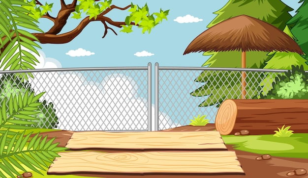 Zoo park without animal scene Free Vector