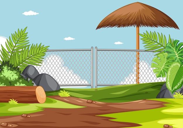 Parco zoo senza scena di animali Vettore gratuito