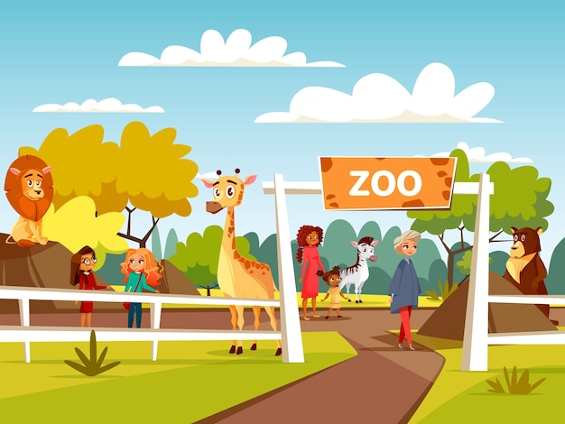 Zoo Or Petting Zoo Cartoon Design Open Zoo Wild Animals And