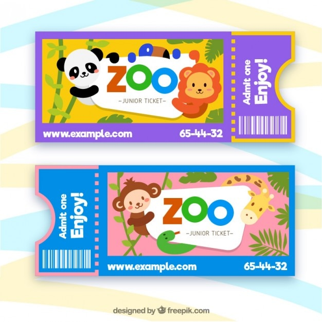Zoo tickets with cartoon animals Free Vector