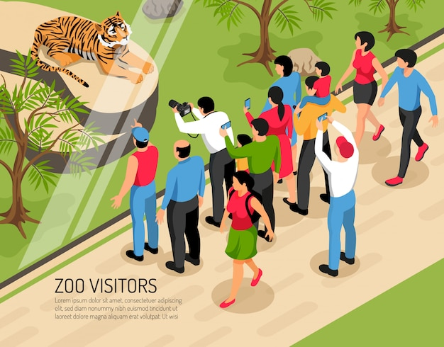 Посетители зоопарка взрослые и дети с фотоаппаратами возле тигра изометрии Бесплатные векторы