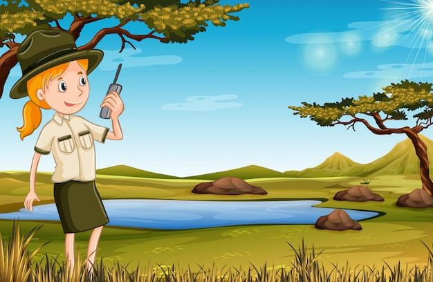 Zookeeper in the nature Free Vector