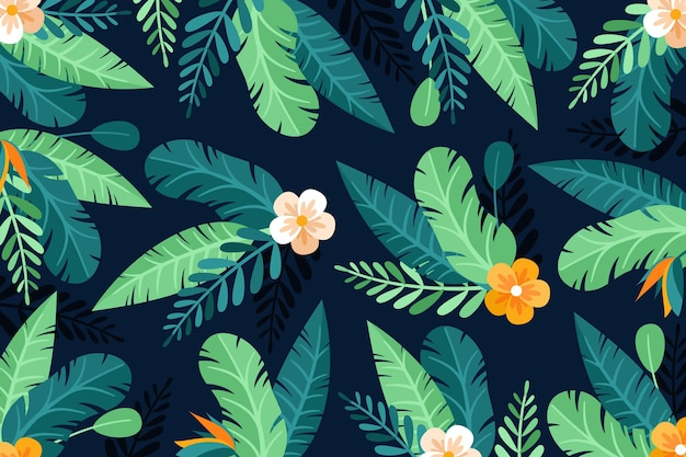 Zoom background with tropical flowers and leaves Premium Vector