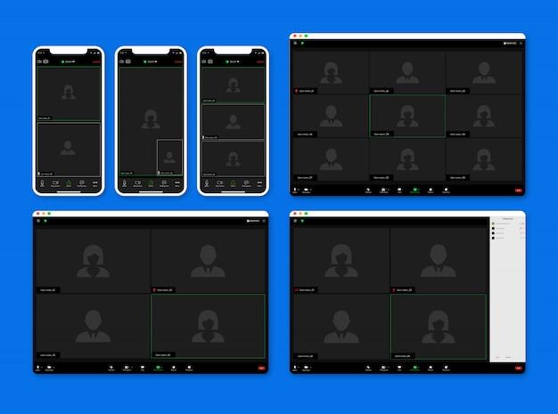 줌 회의 화상 통화 앱 Ui 키트, 통화 화면 템플릿. 프리미엄 벡터