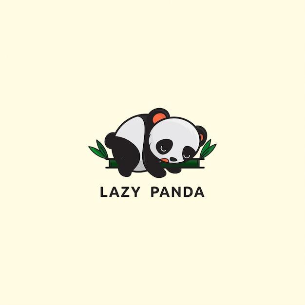 アイコンのロゴ、竹の怠zyなパンダのシンプルなイラスト Premiumベクター