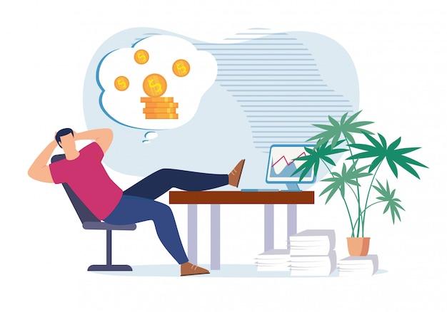 お金と富を夢見る怠zyなオフィスワーカー Premiumベクター