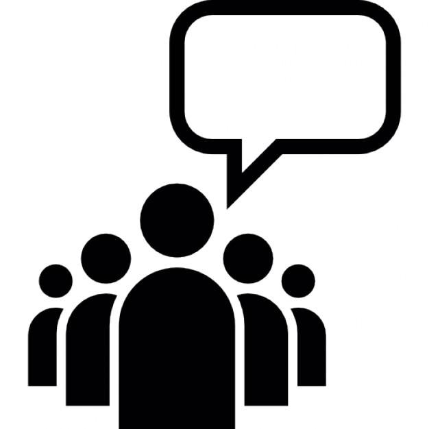 Anführer einer Gruppe mit einer leeren Sprechblase ... Public Policy Symbol