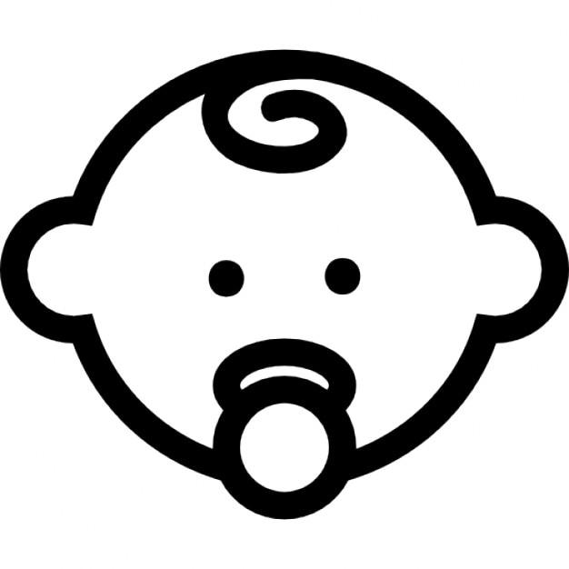 Baby Kopf Umriss mit Schnuller   Download der kostenlosen Icons