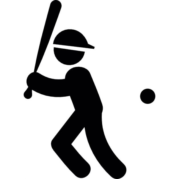 Baseball-Spieler mit Schläger und Ball | Download der kostenlosen Icons