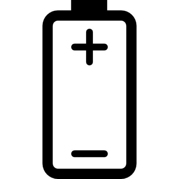 Batterie mit Plus-und Minuszeichen von positiven und negativen Polen ...