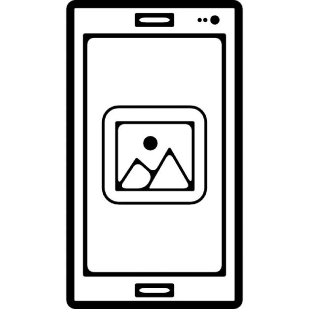 bild galerie ansicht zeichen auf dem bildschirm eines mobiltelefons umriss download der. Black Bedroom Furniture Sets. Home Design Ideas