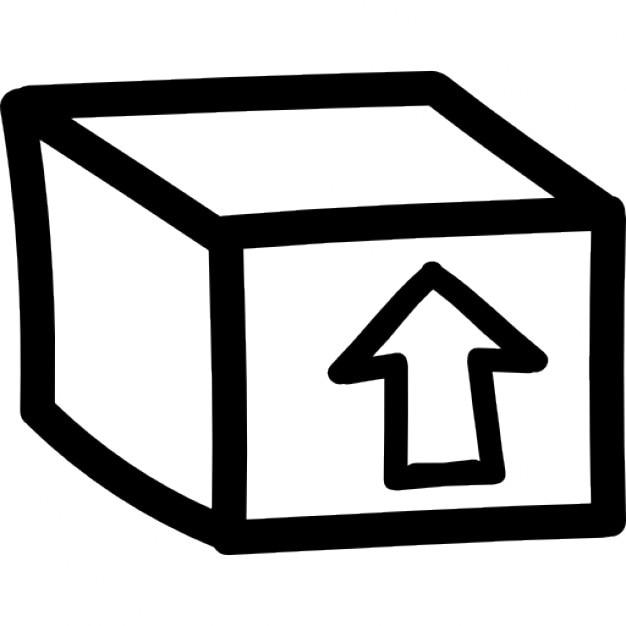 box paket mit einem pfeil nach oben hand gezeichnet symbol. Black Bedroom Furniture Sets. Home Design Ideas