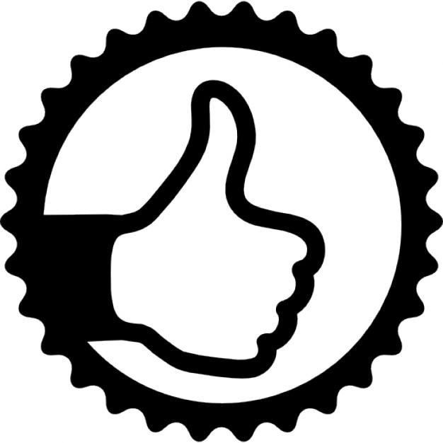 Daumen hoch-Zeichen in runden Abzeichen   Download der ...