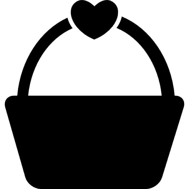 Einkaufen oder Picknick-Korb mit einer Herzform | Download der ...