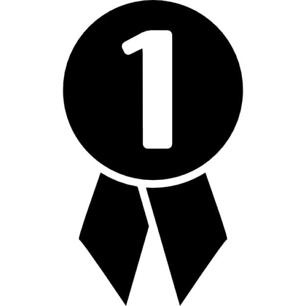 fussball medaille mit der nummer 1 kostenlose icons