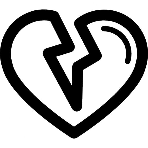 gebrochenes herz form umriss  download der kostenlosen icons