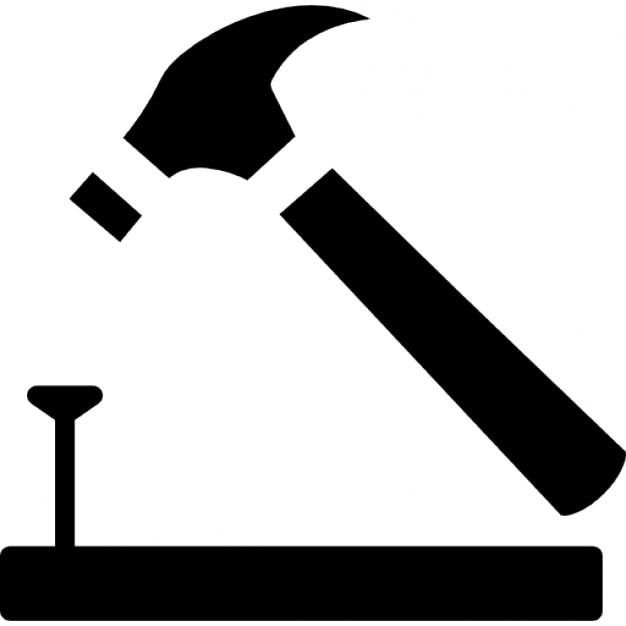 hammer und nagel auf holz umriss download der. Black Bedroom Furniture Sets. Home Design Ideas