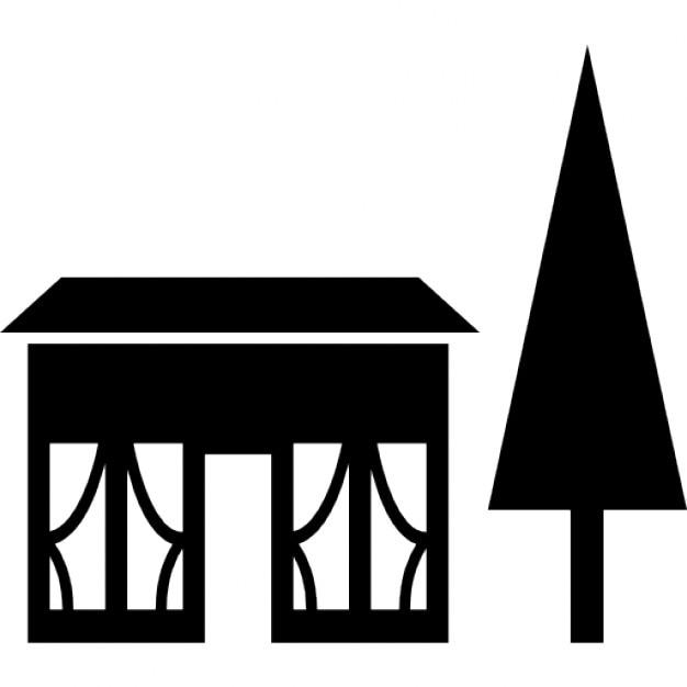 haus geb ude neben einer kiefer download der kostenlosen icons. Black Bedroom Furniture Sets. Home Design Ideas