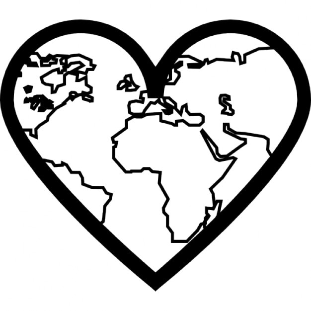 Herz mit dünnen Erde Kontinenten skizziert innen | Download der ...