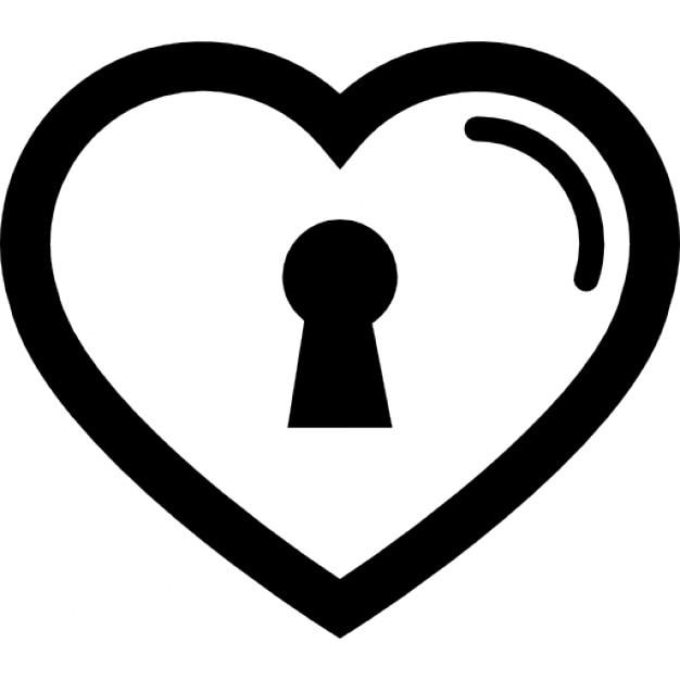 Herzförmigen Umriss mit Schloss | Download der kostenlosen Icons