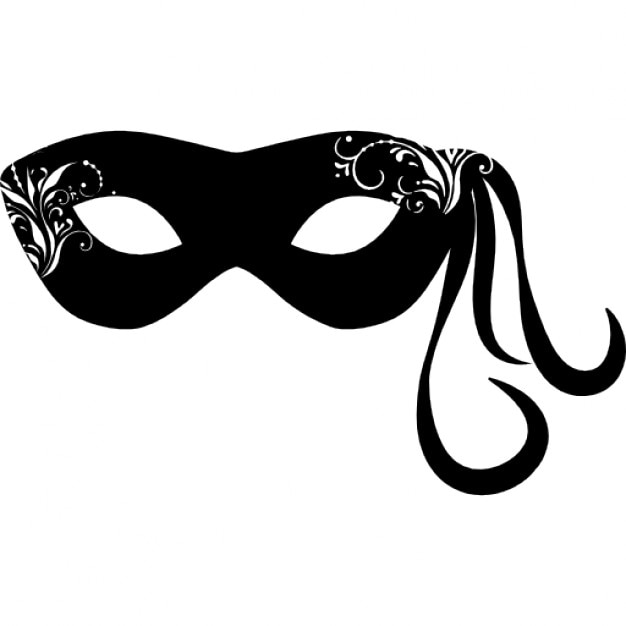 Karneval Maske mit hängenden ornamentalen Linien auf einer Seite ...