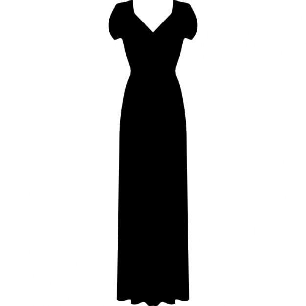 Langes Kleid mit kurzen Ärmeln | Download der kostenlosen Icons