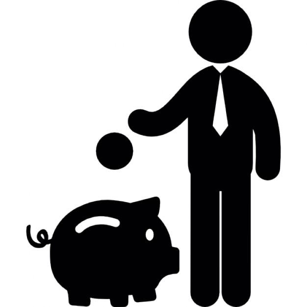 Mann spart Geld in ein Sparschwein Sparbüchse   Download der ...