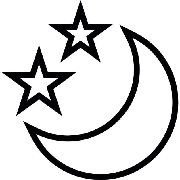 Mond in Sichelform mit zwei Sternen | Download der kostenlosen Icons