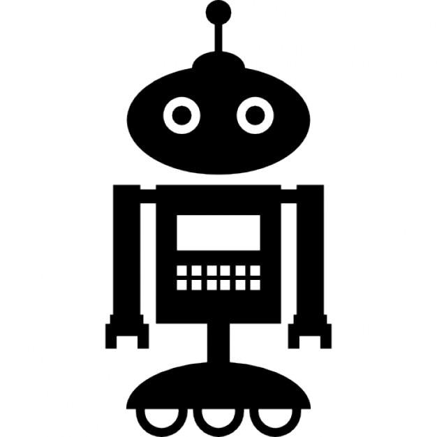 Roboter stehend über räder mit einer antenne auf dem kopf
