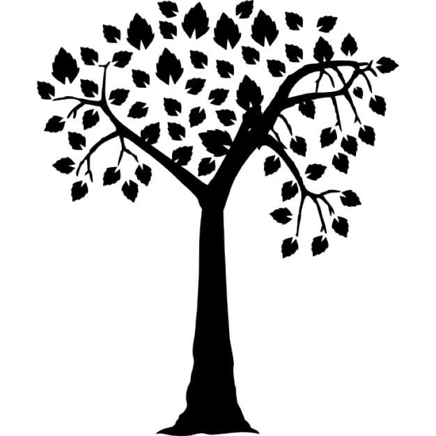 Romantische Baum-Form mit herzförmigen Blättern | Download der ...
