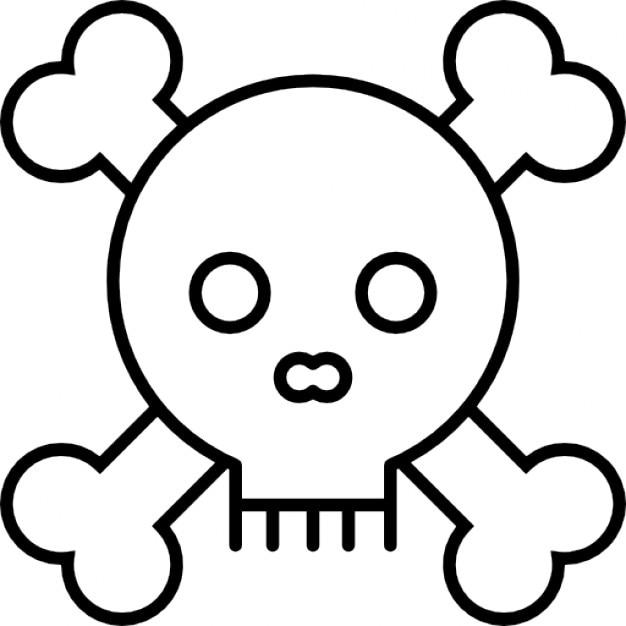 Schädel mit Knochen Umriss | Download der kostenlosen Icons