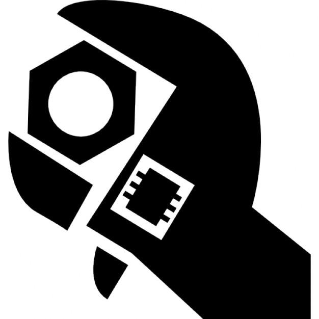 Schraubenschlüssel mit Stellsystem für verschiedene Nüsse Größen Kostenlose Icons