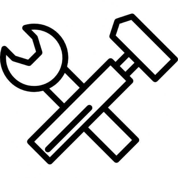 schraubenschlüssel und hammer tools dünnen umrisssymbol
