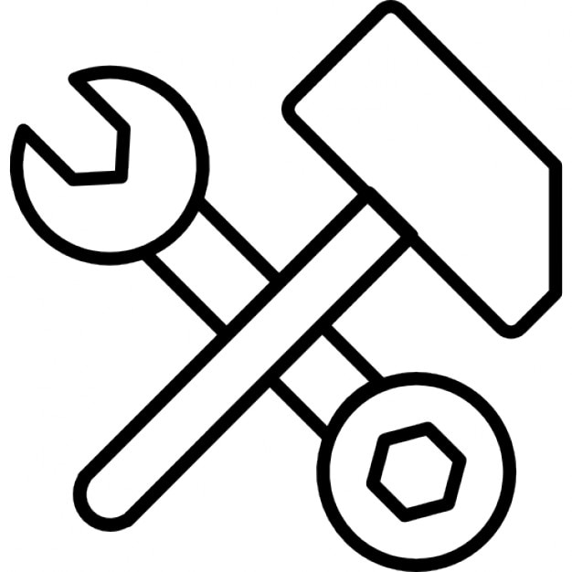 schraubenschl ssel und schraube werkzeug mit hammer umriss