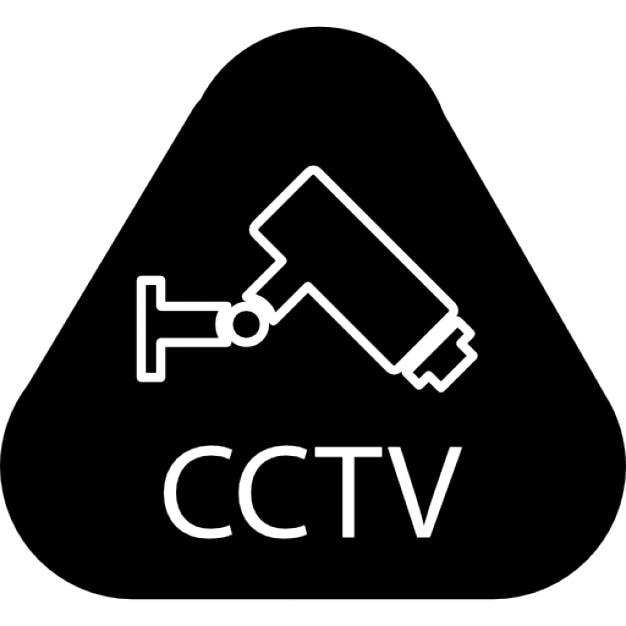 berwachung cctv symbol mit buchstaben und eine videokamera in einem abgerundeten dreieck. Black Bedroom Furniture Sets. Home Design Ideas
