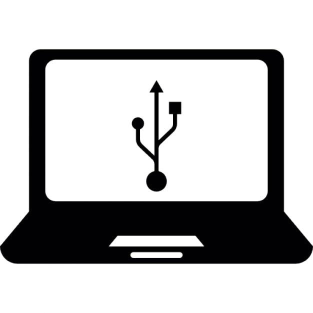 USB-Verbindung über Laptop-Computer   Download der kostenlosen Icons