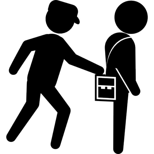 Stehlen Designer verbrecher stehlen die tasche einer person hinten
