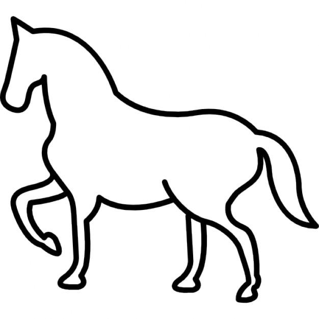 Wandern Pferd Umriss mit einem Frontal Pfote gehoben | Download der ...