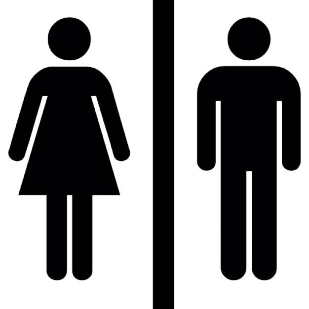 Weibliche und männliche Silhouetten mit einer vertikalen Linie in der Mitte Kostenlose Icons