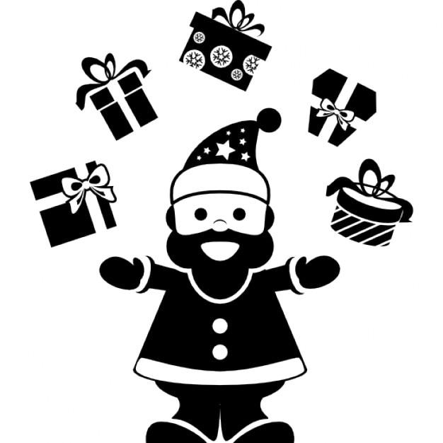 weihnachtsmann spielen mit geschenken auf einem bogen. Black Bedroom Furniture Sets. Home Design Ideas