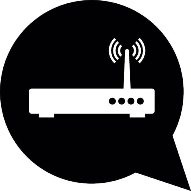 WLAN Router in Sprechblase | Download der kostenlosen Icons