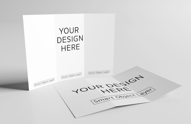 2 trifold brochures mockup Premium PSD